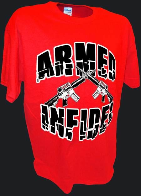 Armed Infidel funny m16 ak47 pro gun t shirt