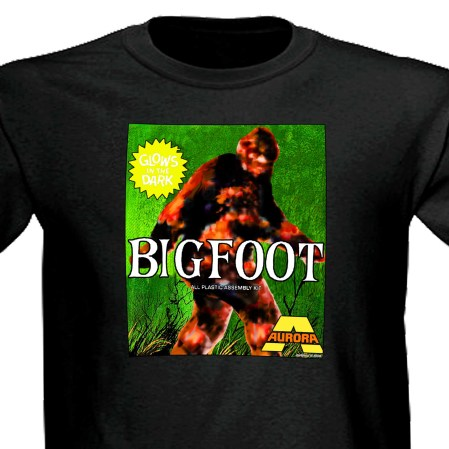 Aurora Bigfoot Sasquatch Monster Model Kit Horror Movie black t shirt