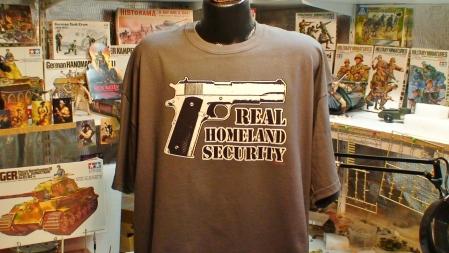 Real Homeland Security Colt 45 Auto Pistol Funny Gun T shirt photo