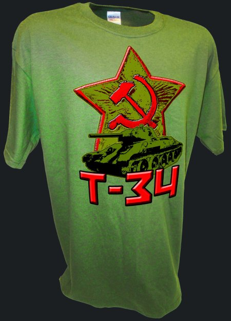 Hammer Sickle T-34 Tank Russian Red Army Stalingrad green