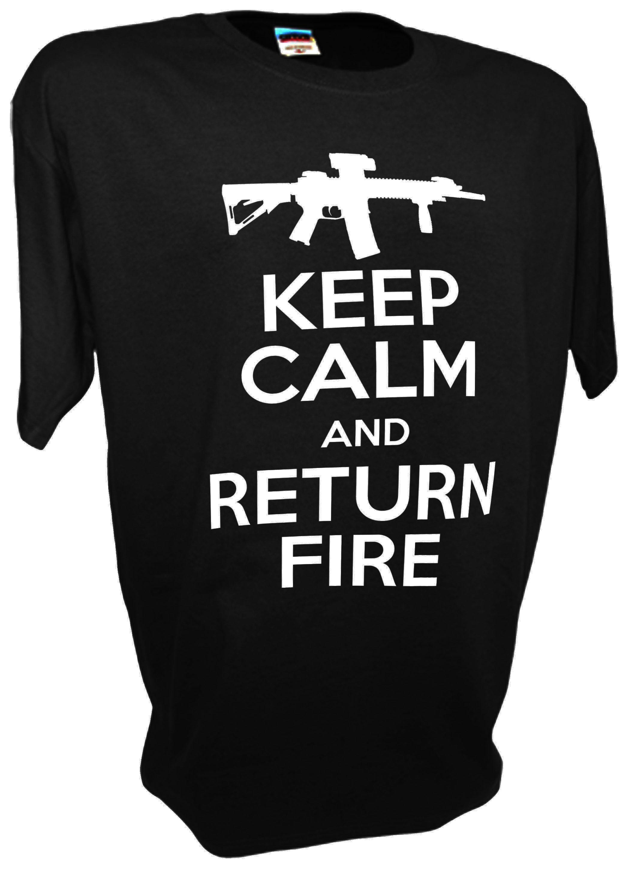 KEEP CALM AND RETURN FIRE  T-shirt GRAY USA AMERICAN FLAG PRO 2nd amendment