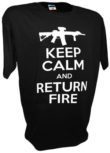 Keep Calm Return Fire Funny Ar15 ak47 Assault Rifle Tee gray