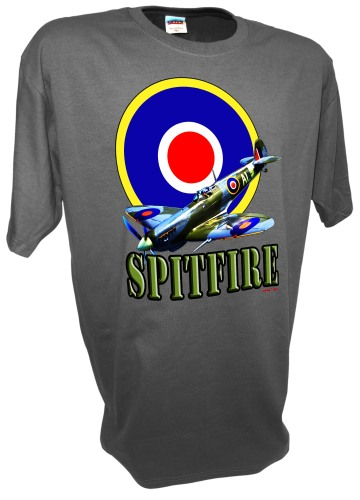 Spitfire Roundel Fighter Airplane RAF WW2 Battle of Britain gray